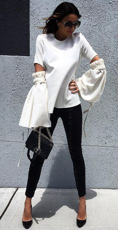 #fall #fashion ·  White Top   Black Skinny Jeans   Black Heels