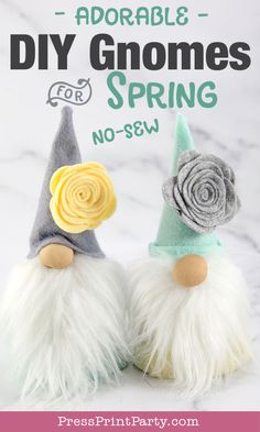 DIY Gnome Craft for Spring. How to make a no-sew gnome with a cardboard cone. Make a bunny gnome for Easter or just fun gnomes for spring decorations. Super cute and easy to make gnome ideas. Diy Gifts Cheap, Diy Gifts To Make, Diy Crafts For Gifts, Handmade Crafts, Holiday Crafts, Crafts For Kids, Fun Crafts, Diy Craft Projects, Craft Ideas