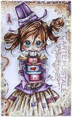Created-By-Silvie-Z.: Saturated Canary Teacups ~ Copics: V09, 06, 04, 01, 000 E47, 44, 43, 41 40 E77, 74, 71, 70 R89, 85, 83, 81,  hair: E49, 29, 25, 53 skin: E04, 11, 01, 000, 0000; R22, 21