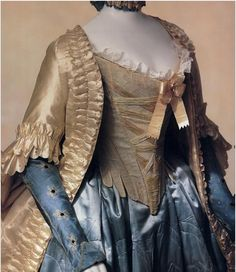 Jacket (pet-en-l'air) and petticoat, French, late 1760s, Kyoto Costume Institute.