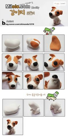 Fimo Polymer Clay Puppy Dog Step-by-Step Tutorial Polymer Clay Animals, Fimo Clay, Polymer Clay Projects, Polymer Clay Charms, Polymer Clay Creations, Clay Crafts, Cupcakes, Cupcake Cakes, Decors Pate A Sucre