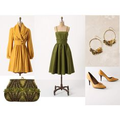 """""""Olive Mustard Cocktail Outfit"""" by ggdesigns on Polyvore"""