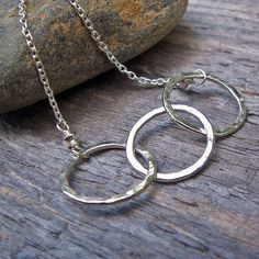 Hammered Silver Triple Ring Necklace in Sterling by BeadinByTheSea
