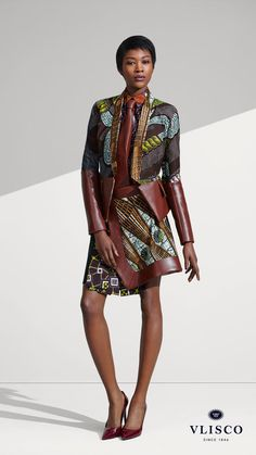 VLISCO DECADENCE | Great for many occasions, abstract styling assembles lots of lovely ideas. Wrap skirt is wrinkled on one side, leather like accents, pattern play... | Vlisco - The True Original