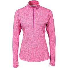 Nike Element Half Zip ($83) ❤ liked on Polyvore featuring activewear, jumpers & cardigans, sports fashion, vivid pink, womens-fashion, nike, nike sportswear and nike activewear