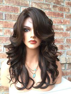 "Lindsey Dark Brown Hi Lite Mix Wavy Human Hair Blend Full Wig 14"""
