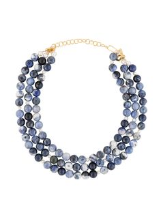 The Westminster from Meg Carter is an incredibly chic necklace that can be worn day or night. The triple strand chain is crafted from sodalite beads and accented with freshwater pearls. The soft hue of this necklace is perfect for any season. We love this style paired soft neutrals.