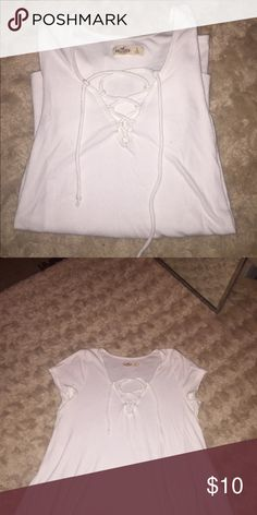 Hollister Lace Up Tee never worn, was too big for me. Hollister Tops Tees - Short Sleeve