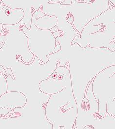 Moomin - Light Grey & Pink Wallpaper