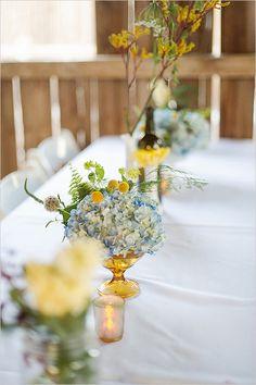 vintage glass used in floral arrangements