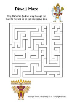 cute Diwali maze for the children