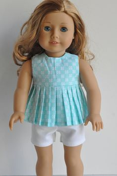 Mint Pleated Top and white shorts by CircleCSewing on Etsy. Made with the Breezy Summer Top pattern. Find the Breezy Summer Top pattern here http://www.pixiefaire.com/collections/jen-ashley-designs/products/breezy-summer-top-18-doll-clothes. #pixiefaire #breezysummertop