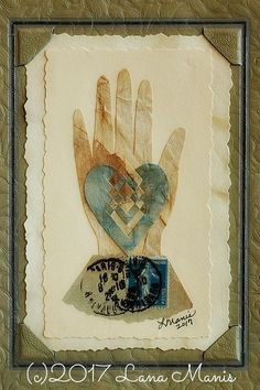 Antique Photography Photo Mat Frame Aqua Heart in Hand Love image 0 Bird Crafts, Heart Crafts, Paper Art, Paper Crafts, Vintage Valentines, Valentine Ideas, Old Letters, Art Journal Pages, Junk Journal