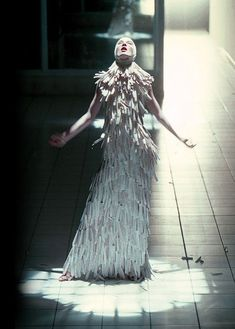 "Alexander McQueen's Dress ""VOSS"" | adjectival:Erin O'Connor @ Voss, Alexander McQueen S/S 2001 #alexandermcqueenreadytowear"