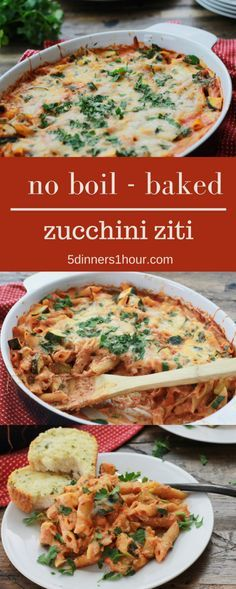 No boiling needed for this Baked Zucchini Pasta - We LOVE this recipe. So dang easy to make. | 5dinners1hour.com