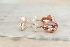 Blush Bridesmaid Earrings Rose Gold Earring Rose by LilykayCouture