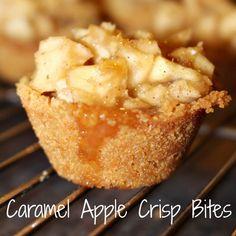 Delicious Caramel Apple Crisp Bites from Princess Pinky Girl (Apple Recipes Easy) Mini Desserts, Fall Desserts, Just Desserts, Dessert Recipes, Apple Desserts, Bite Size Desserts, Apple Recipes, Fall Recipes, Sweet Recipes