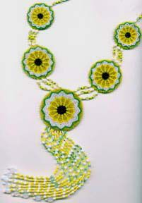 SUNFLOWER MANDALA NECKLACE Pattern at Sova-Enterprises.com Lots of free beading patterns and tutorials on this site!
