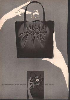 Vintage Koret Advertisement: Suede Rose Koret Vintage Handbag