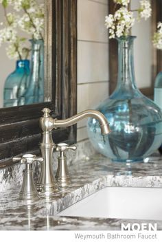 Distinctive shepherd's spout. Nothing compares to the style and class of our Weymouth collection. Decor, High Arc Bathroom Faucet, Bathroom Makeover, Beautiful Bathrooms, Bathroom Design, Widespread Bathroom Faucet, Bath Design, Bath Remodel, Home Decor