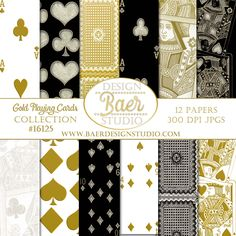 Gold Playing Card Digital Scrapbook Background Paper. The benefit of purchasing digital backgrounds and digital clip art is the ability of using the purchase over and over again. Purchase once, download onto your computer or tablet and you are ready to go! Use the images for your wedding, personalized family cards, baby showers, holidays and anniversaries. Create your own brand!