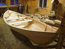 Small wooden strip fishing boats