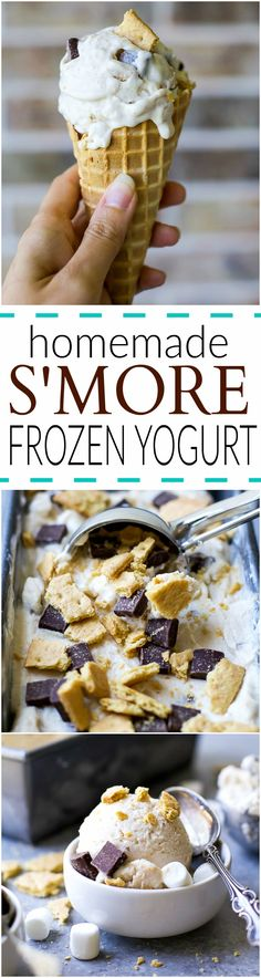 An easy Homemade S'more Frozen Yogurt recipe using only 7 ingredients! Because S'mores and Frozen Yogurt are a staple in the summer! #ad #UndeniablyDairy