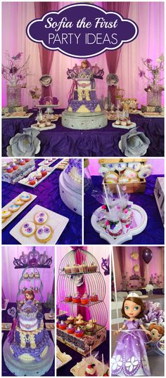 The astonishing How Pretty Is This Purple Sofia The First Party? See More Throughout Sofia The First Party Decorations Ideas … Sofia The First Birthday Party, Girls Birthday Party Themes, First Birthday Party Decorations, 4th Birthday Parties, 3rd Birthday, Princess Sofia Party, Disney Princess Party, Princesa Sophia, First Birthdays