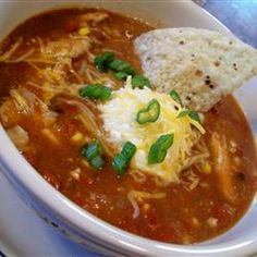 Crock Pot Chicken Taco Chili Soup  Just had this for dinner and it was fabulous!