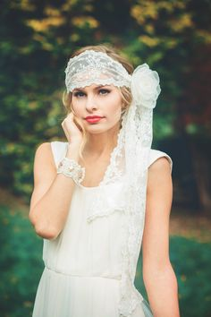 Off White Boho Bridal Lace Headwrap or Headband, Veil alternative by UrbanVeilsCouture Available now for $165  Click through to view and use coupon code PIN10 for 10% off for Pinterest users!
