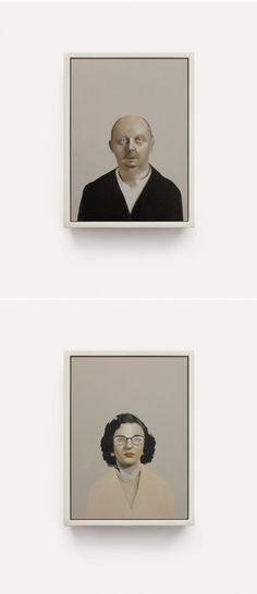"""Oil on panel portraits (or mugshots) part of Sarah Ball's series entitled """"ACCUSED"""""""