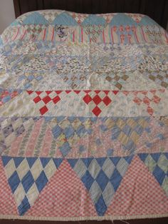 Quilt Very Old Happy Colors Triangle Patchwork Feed by hiphuggie, $200.00