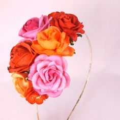 Floral fascinator with Pink Red and Orange Roses by cloudcake
