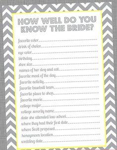 Special Wednesday Top 5 Free Printable Bridal Shower Games |another how well do you know the bride :-) http://@Whitney Clark Clark Clark McKay http://@Kendra Henseler Henseler Henseler Ferguson