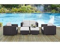 Convene White Outdoor 5 Piece Sofa Set