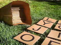 "Easy Cardboard Giant Outdoor Scrabble Game//  There are 144 ""tiles."" Letter Count: 2: J, K, Q, X, Z 3: B, C, F, H, M, P, V, W, Y 4: G 5: L 6: D, S, U 8: N 9: T, R 11: O 12: I 13: A 18: E"