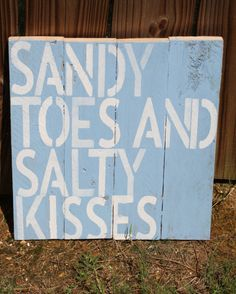 Sandy Toes and Salty Kisses Small Wood Pallet- perfect for a beach house. $24.99, via Etsy.