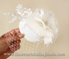 Ivory Headpiece Birdcage Fascinator Birdcage by Flowerartstudio