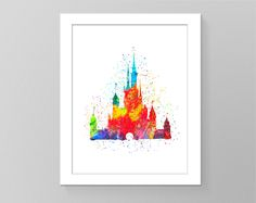 Watercolour disney castle printable art. Nursery room decor, disney wall art, watercolor wall decor, kids room decor, birthday gift print