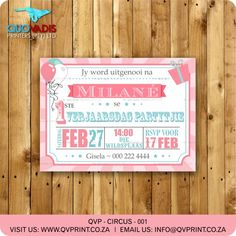 This listing is for a x invitation (your choice of a printable file or printed and shipped) customized with your event details. Circus Invitations, Printable Birthday Invitations, Circus Tickets, Corporate Gifts, Rsvp, Carnival, Invite, Prints, Girls