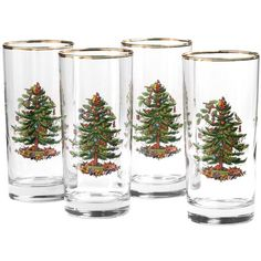 Spode Glassware, Set of 4 Christmas Tree Highball Glasses (300 RON) found on Polyvore featuring home, kitchen & dining, drinkware, no color, glass glassware, spode glassware, glass drinkware, highball glass and glass highball