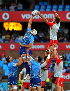 Crusaders (NZL) Sam Whitelock fights for ball with Bulls (South Africa) Jacques Potgieter during a Super 15 Rugby Match between Bulls and Crusaders at Loftus Versfeld, stadium in Pretoria.