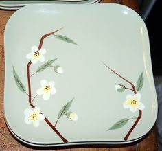 Vintage 40s Weil Ware Malay Blossom California Pottery Salad Plates