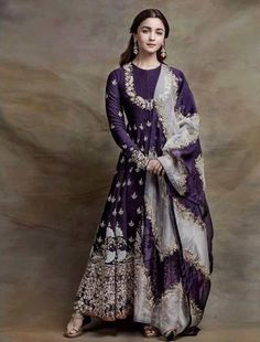 Best 12 Excited to share this item from my shop: VeroniQ Trends-Bollywood Style Alia Bhatt Inspired Anarkali Dress in Purple Color Georgette- Intricate Embroidery-Hyderabad,Lucknow,Pakistan Pakistani Dress Design, Pakistani Dresses, Indian Dresses, Western Dresses, Indian Look, Dress Indian Style, Indian Ethnic, Indian Designer Suits, Designer Gowns
