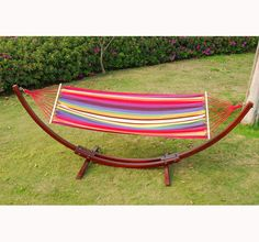 aosom wooden arc hammock stand with colorful hammock  179 99 cypress wooden arc hammock stand with hammock   outside garden      rh   pinterest