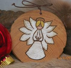 Praying Angel Wood Burnt Wood Burning Ornament
