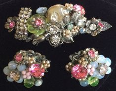 Exquisite Vintage Miriam Haskell Brooch Pin & Earrings Set~Rhinestones/ Pearls/ Glass/ Crystals/ Silver Tone Filigree~ Signed