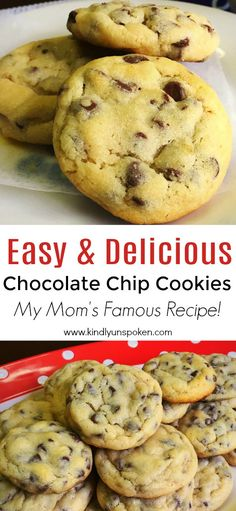My Mom's Famous Easy Chocolate Chip Cookies recipe truly makes THE BEST chocolat. My Mom's Famous Easy Chocolate Chip Cookies recipe truly makes THE BEST chocolat… My Mom's F Homemade Chocolate Chip Cookies, Chocolate Chip Recipes, Chocolate Chip Cookie Recipe With Self Rising Flour, Easy Homemade Cookies, Easy Homemade Desserts, Cookie Recipes, Dessert Recipes, Cookie Desserts, Famous Chocolate