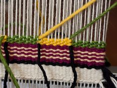 technique called weft interlock. It's used for making blocks of color without leaving open slits in the tapestry fabric.