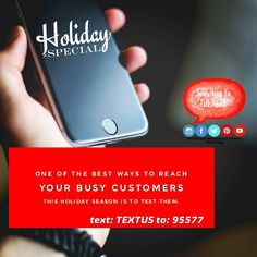 One of the best ways to reach your busy customers this holiday season is to text them.text: TEXTUS to: 95577  Catch them while they are online researching gifts or out and about shopping with their phones in hand looking for gift ideas places to eat and where to save money.  Text message marketing will alert and remind shoppers of your product and get them on board for your holiday offers.  Thorough a text they can be linked to an online product page or have a coupon saved right on their…